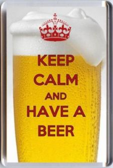 KEEP CALM AND HAVE A BEER Fridge Magnet pale 7x4.5cm UNIQUE Christmas Gift Idea